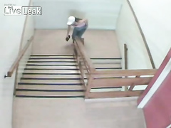 Desperate chick takes a dump on the stairs