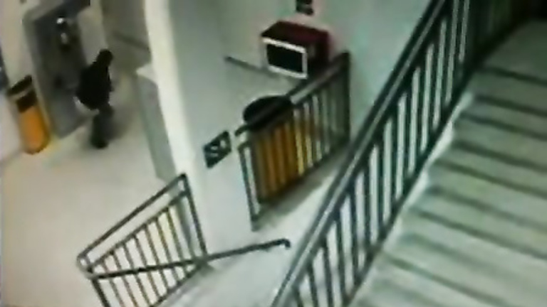 Desperate girl peeing on the floor on security cam footage
