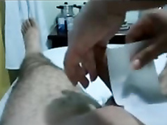 Waxing session ends with a handjob