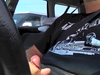 Car masturbation with a mature woman watching