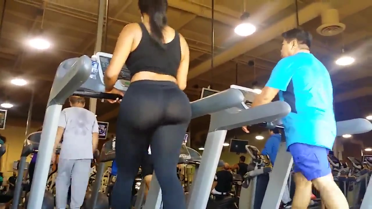 Semi sheer pants on her bubble booty in the fitness club