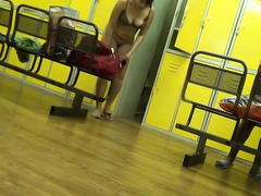 Pregnant amateur caught changing on locker room hidden camera