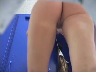 Shaved pussy in the locker room