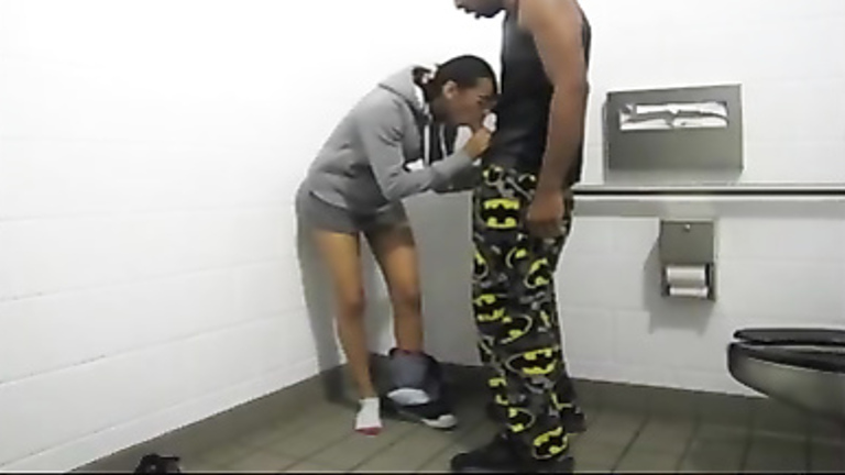 Ebony students have sex in the college restroom