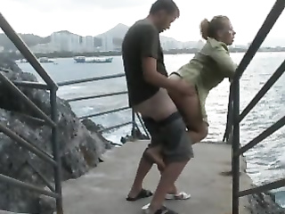 Pounding her love hole by the sea