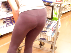 Chasing her thong through the store