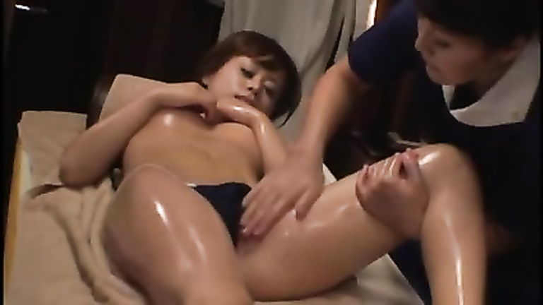 Sensual oil massage for a Japanese beauty