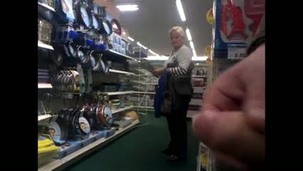 Stroking the pecker inside the store