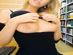 Cute coed does a hot public cam show