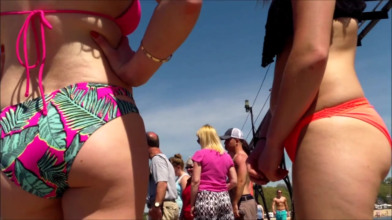 Butts in swimsuit bottoms look great in the sun