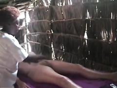 African genital massage in the straw shanty