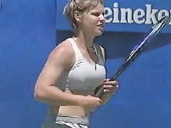 Female tennis player with pokies and bouncy tits