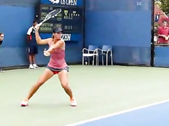 Awesome tennis upskirt on the court