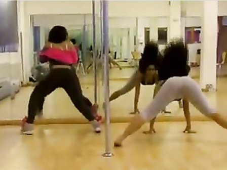Babes practice their dance moves in the mirror