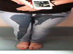 Self-piss video with her jeans getting soaked