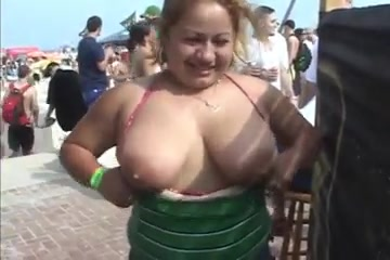 Bustiest woman shows off her large jugs