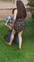 Neighbor eats his girlfriend's pussy in the backyard