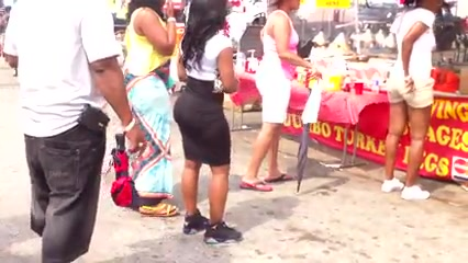 Big black asses at the flea market