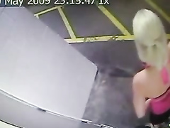 Quick piss in a parking garage caught on security camera