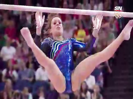 Skintight shiny leotard on a female gymnast
