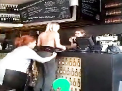 Naughty chick sharking her friend in public