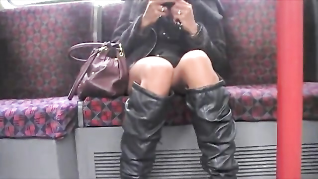 Uppie on the train shows a lovely shaved twat