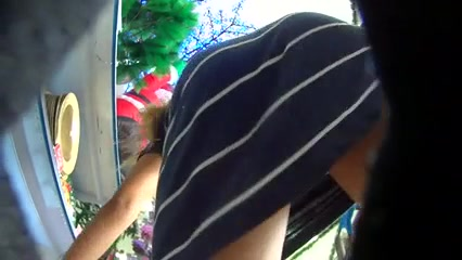 Christmas shopping upskirts show the hot female ass in panties
