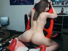 Vigorous dildo riding with a seductive beauty
