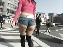 Japanese girl dressed like a slut for a public walk