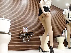 Slender sweetheart tries the new pantyhose