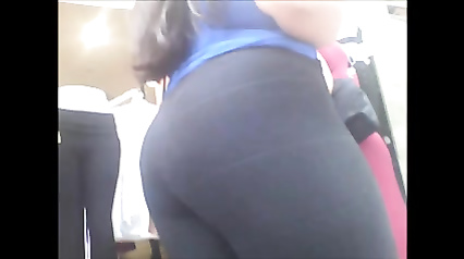 Skintight black leggings are nice on that female booty