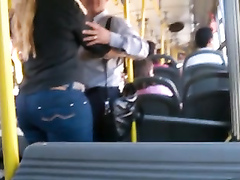 Beautiful big booty in jeans on the bus