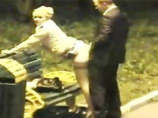 Naughty bridesmaid banged on a bench