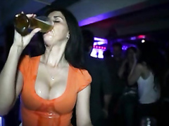 Tasty beer dripping onto her gorgeous tits