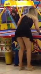 Upskirt flashing with the girl at the arcade