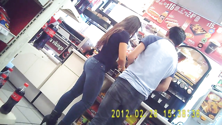 Tight jeans make for a fine Brazilian booty at the store