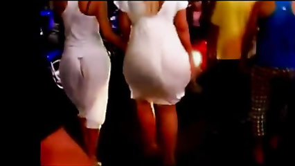 Stunning big ass in a white dress on the street