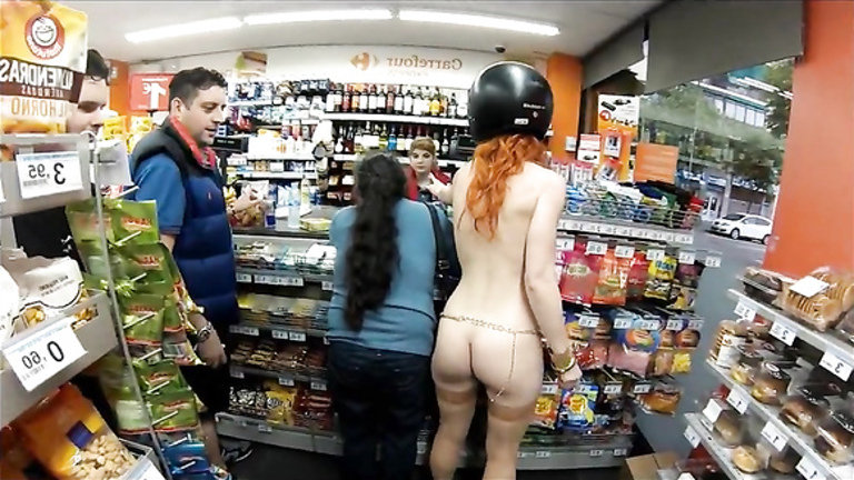 Naked redhead in gas station