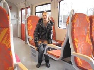 Naughty masturbation on the train with a skinny cutie