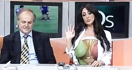 Big painted breasts live on national television