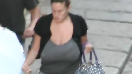 Giant tits on a chick going home
