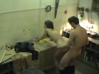 Sex on a work bench with his skinny girlfriend