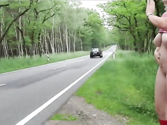 Curvy spouse flicks her clit on the side of the road