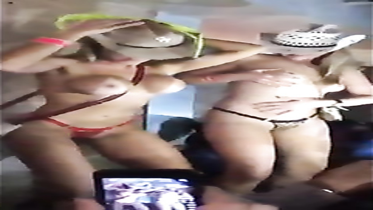 Cowboy babes go nude for the crowd