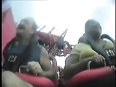 Big tits bounce during a roller coaster ride