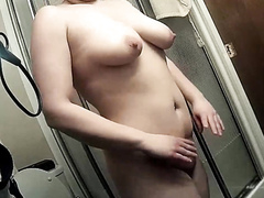 Chubby maid with saggy tits takes a quick shower