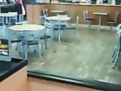 Sexiest coeds do the pussy licking in the fast food restaurant