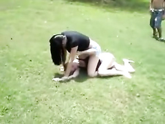 Suburban girls fight for real in the grass