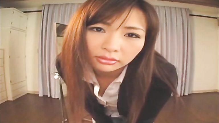 Asian beauty urinates in her jeans and makes a sexy mess