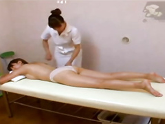 Sapphic massage with a happy ending for the Asian